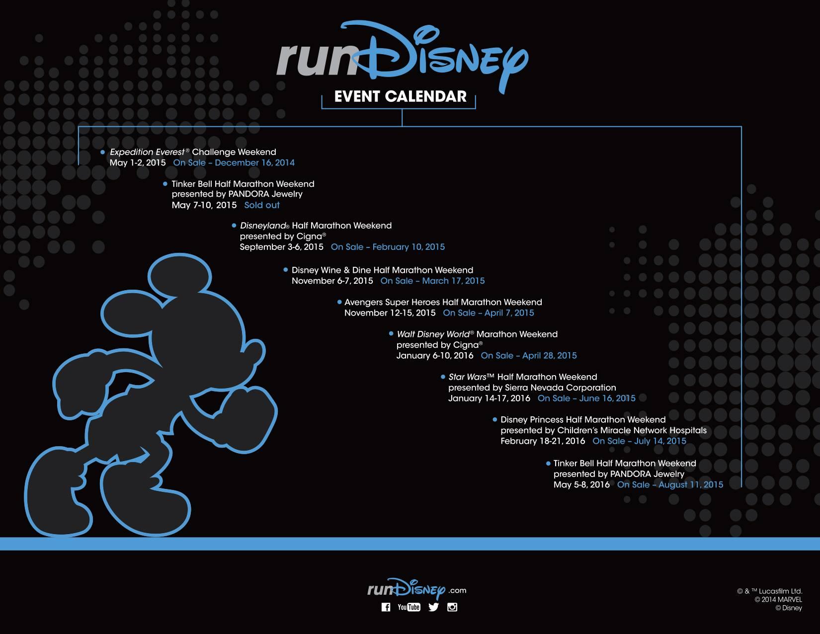 runDisney 2015 schedule