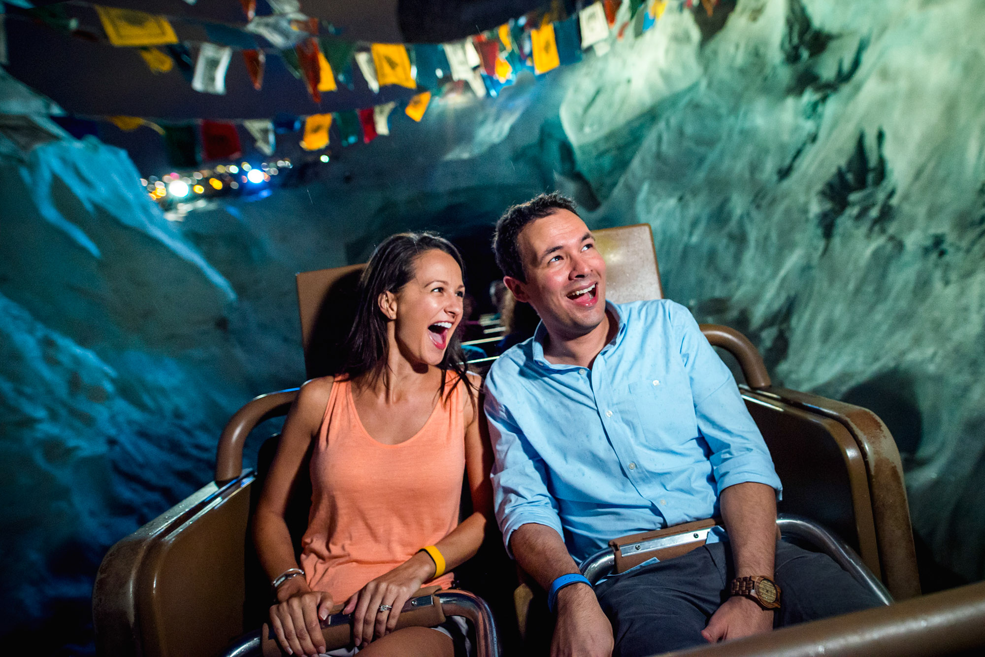 Expedition Everest thrills adventurers as it lurches forward and backward through the icy peaks of the Himalayas. At night, the majestic mountain challenges trekkers to an evening ride revealing breathtaking views of Disney's Animal Kingdom canopied by starlight. (Chloe Rice, photographer)