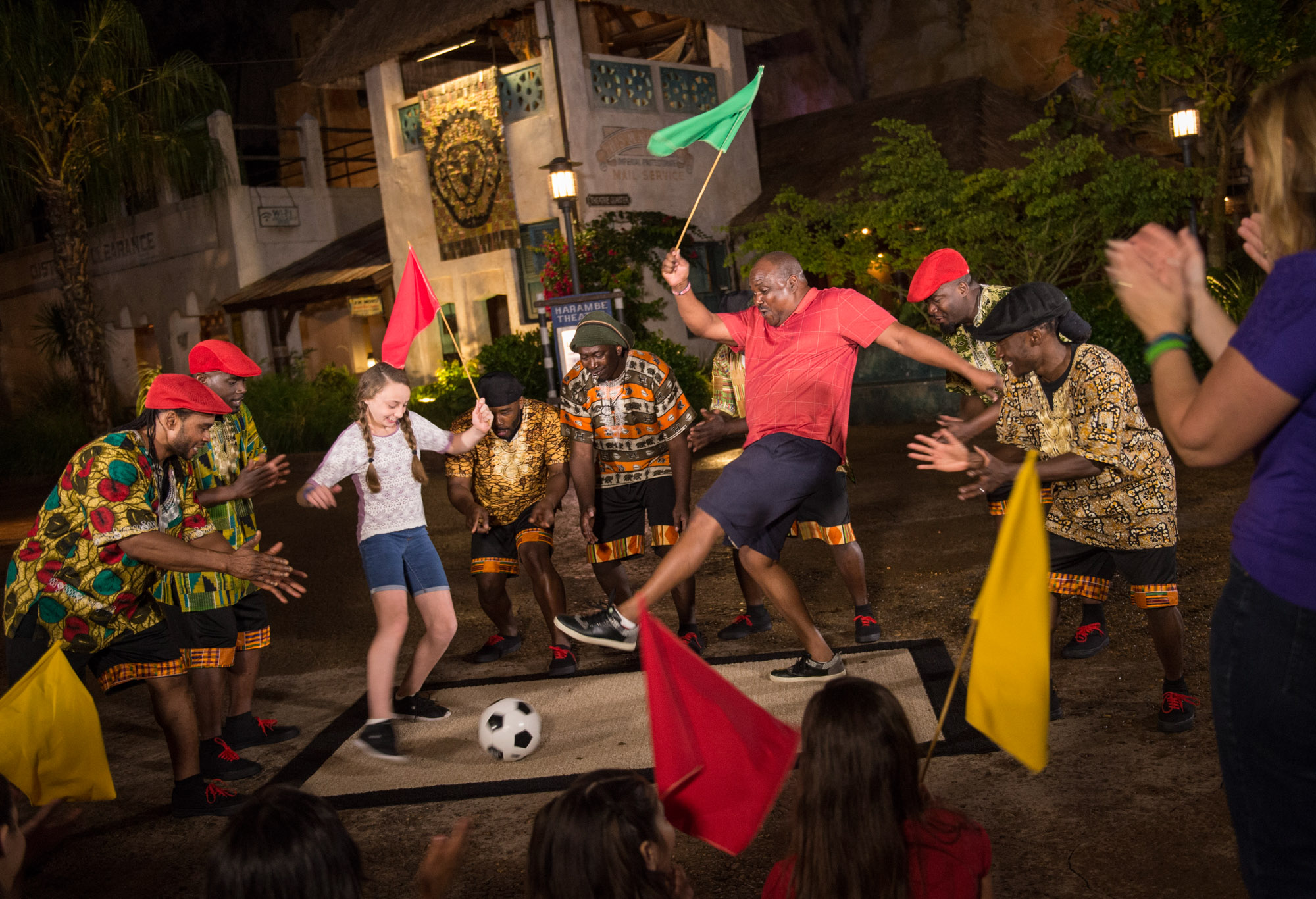 When the sun sets, the popular Village of Harambe at Disney's Animal Kingdom will become a hot spot with the new Harambe Wildlife Parti. Here, Òparty animalsÓ can dance alongside a variety of entertainers and local street musicians, and enjoy the lively rhythms of African music. Guests can also partake in exotic foods and libations, and explore the diverse wares of village artisans and merchants in the vibrant marketplace. (David Roark, photographer)
