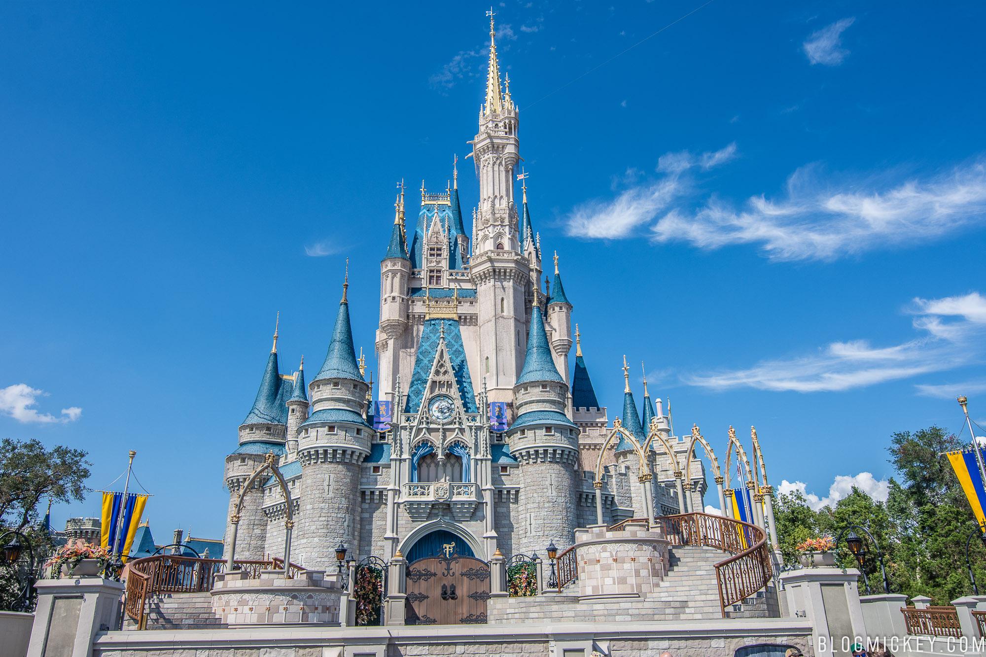 photos cinderella castle dreamlights installation underway at magic