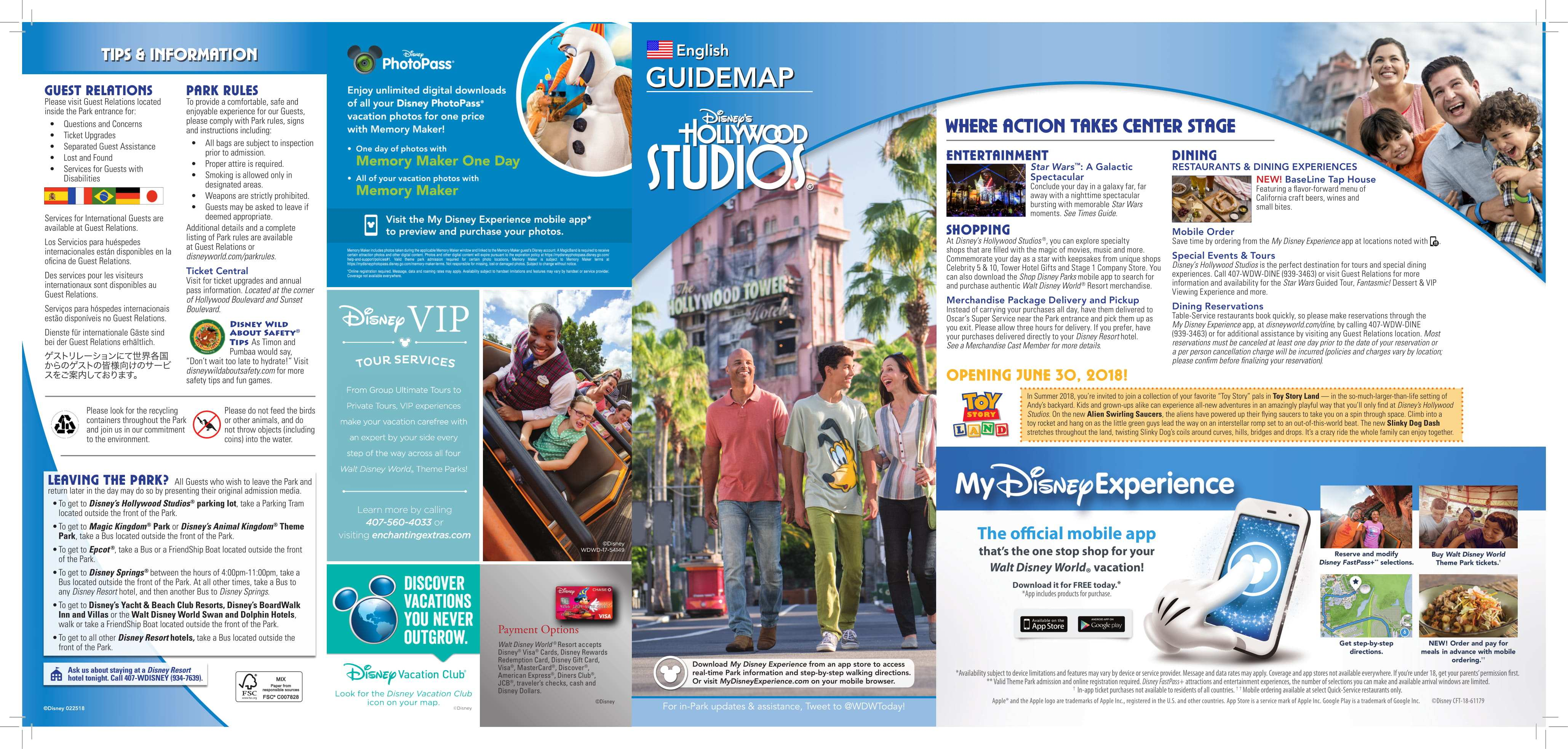 Disney's Hollywood Studios Guide Map with Toy Story Land Opening Date