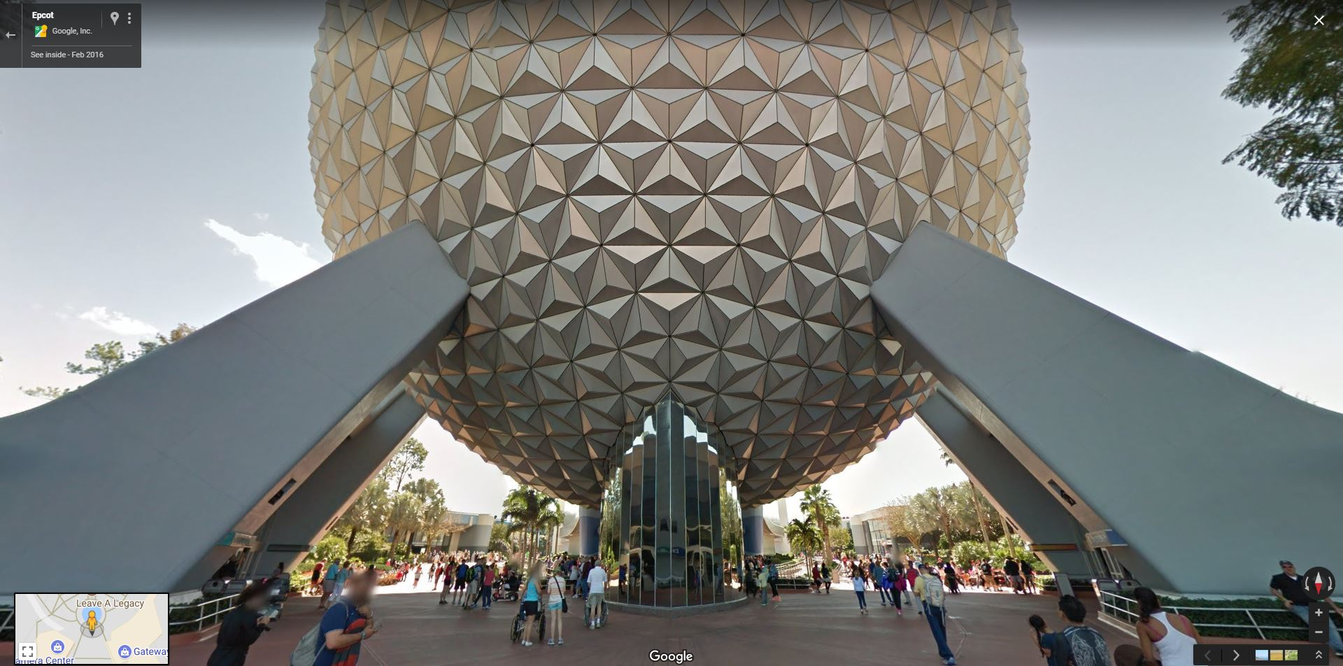 Google Street View of Spaceship Earth at Epcot
