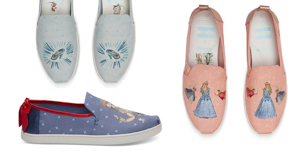 the shoes will feature never before seen character sketches from the fairytale classics cinderella sleeping beauty and snow white