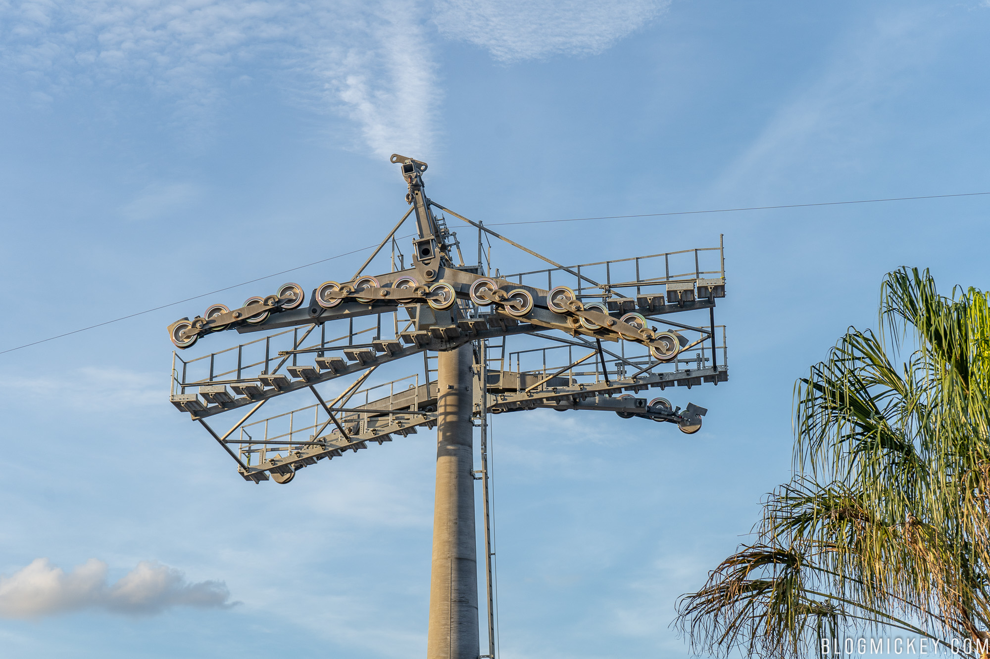 Photos Preparations Underway To Install Cables At Hollywood Studios Wiring Sky Box Under Each Tower In The Parking Lot Is Some Material That Appears Be Scaffolding Its Believed Disney Installing These Below Wires As An