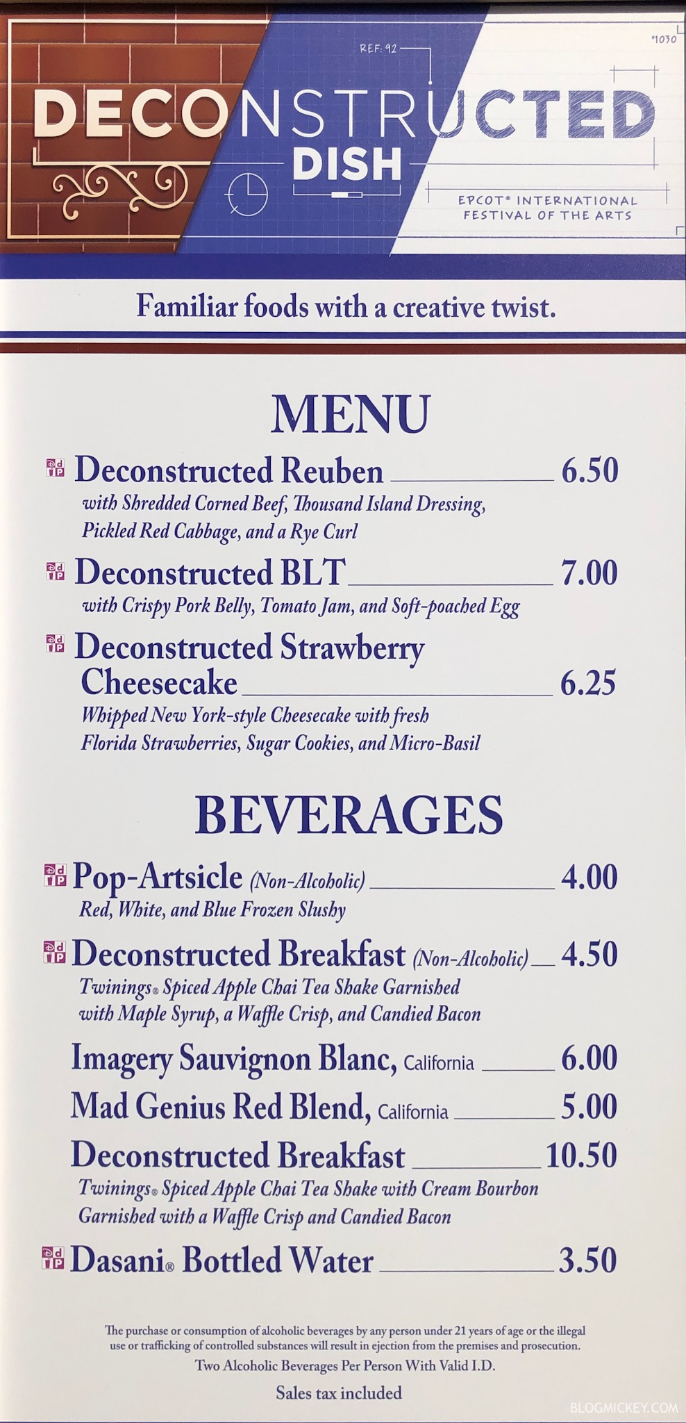 The Deconstructed Dish Menu - 2019 Epcot International Festival of the Arts
