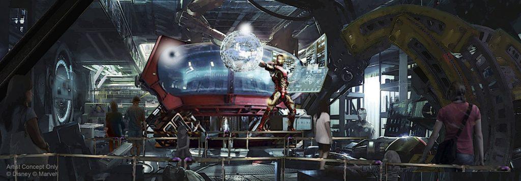 Avengers roller coaster queue concept art