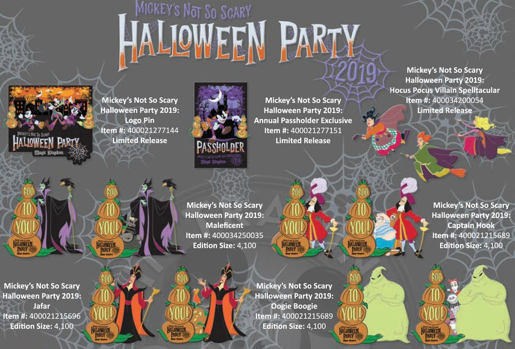 Mickeys Halloween Party Annual Passholder Pins 2020 2019 Mickey's Not So Scary Halloween Party Exclusive Pin Releases