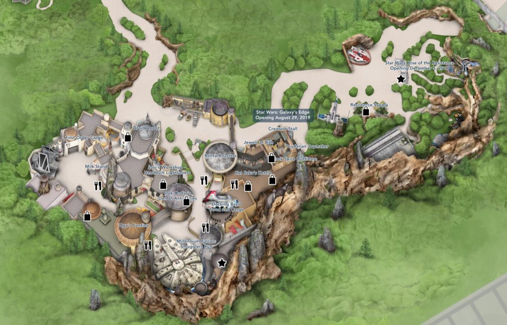 Digital Map of Star Wars: Galaxy\'s Edge at Disney\'s Hollywood ...