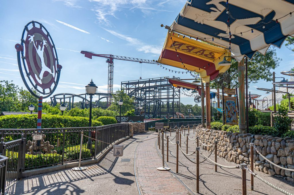 Latest Look at Tron Roller Coaster Construction (Show Building