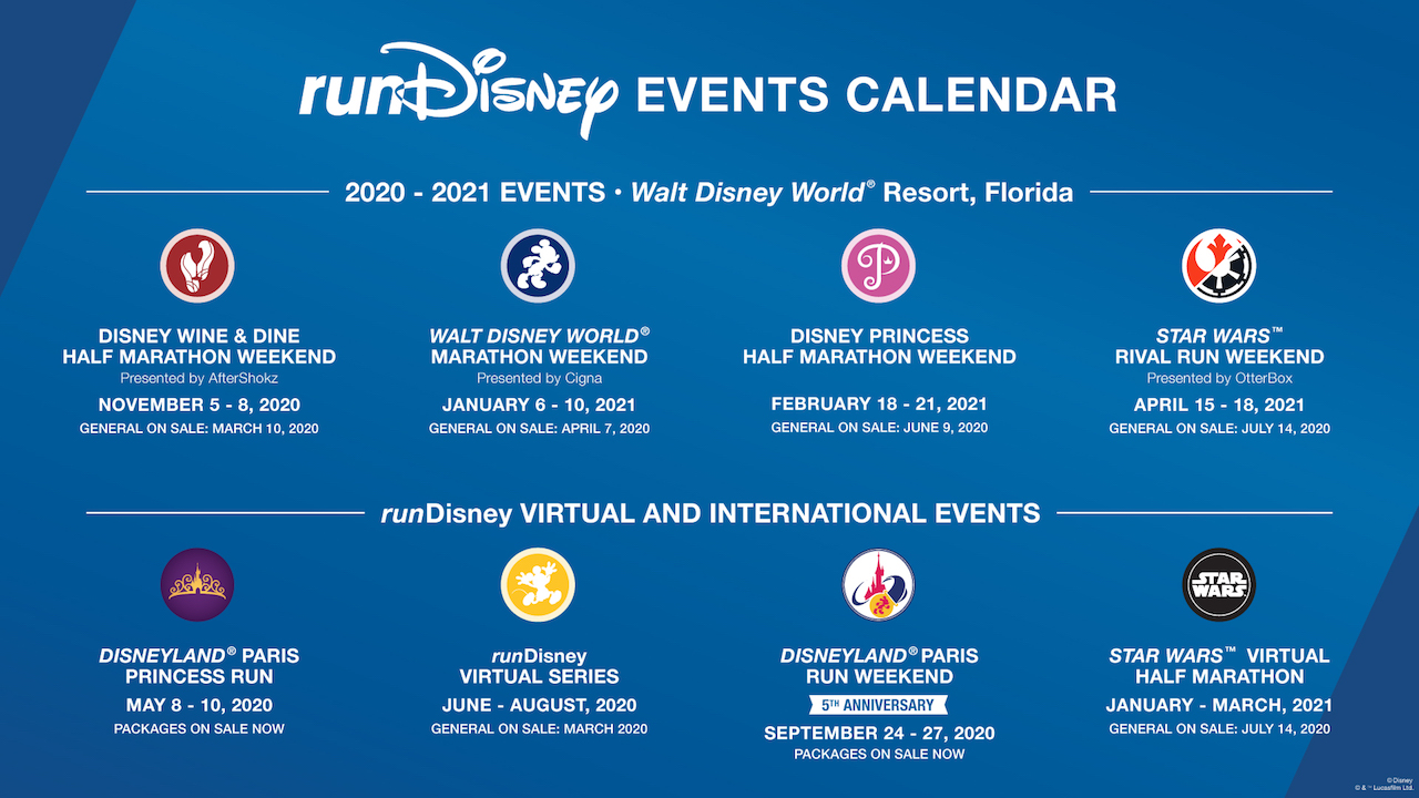 runDisney Releases 2020 2021 Schedule and Signup Dates; New