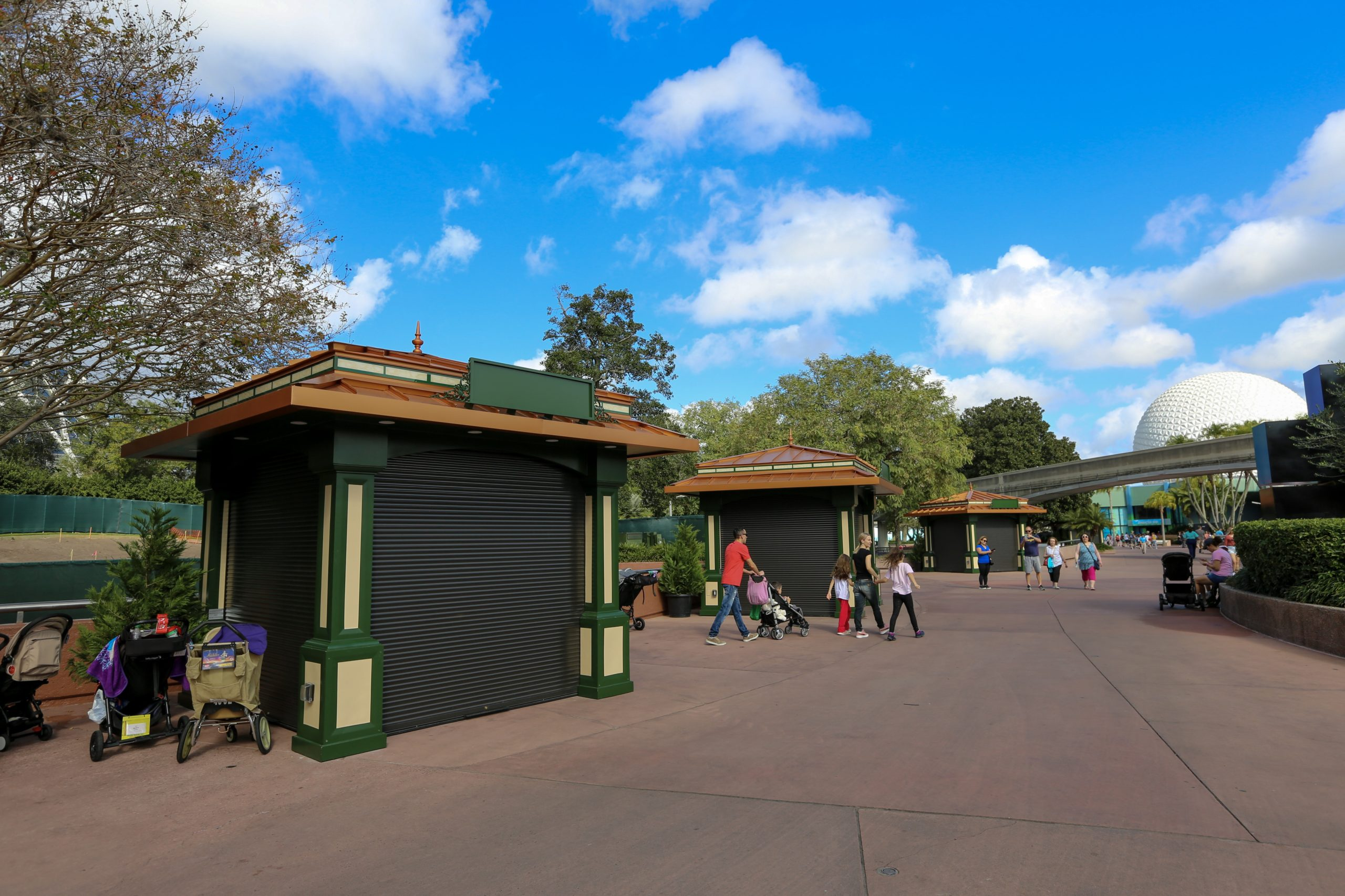 Epcot Festival Of The Arts Merchandise Booths Installed In New Location Near Imagination Pavilion